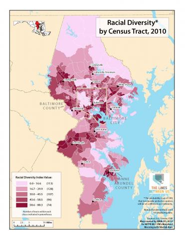 Racial Diversity In The Baltimore Region The Lines Between Us - Us ravial diversity map
